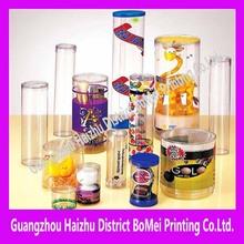 custom clear PVC box PVC/PET/PP cylindrical box with sticker