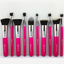 10 Piece Light Red Kabuki Makeup Brush Set Cosmetics Foundation Kit