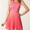 W7047 sweet girl sleeveless backless bridesmaid's gown pink chiffon evening dress
