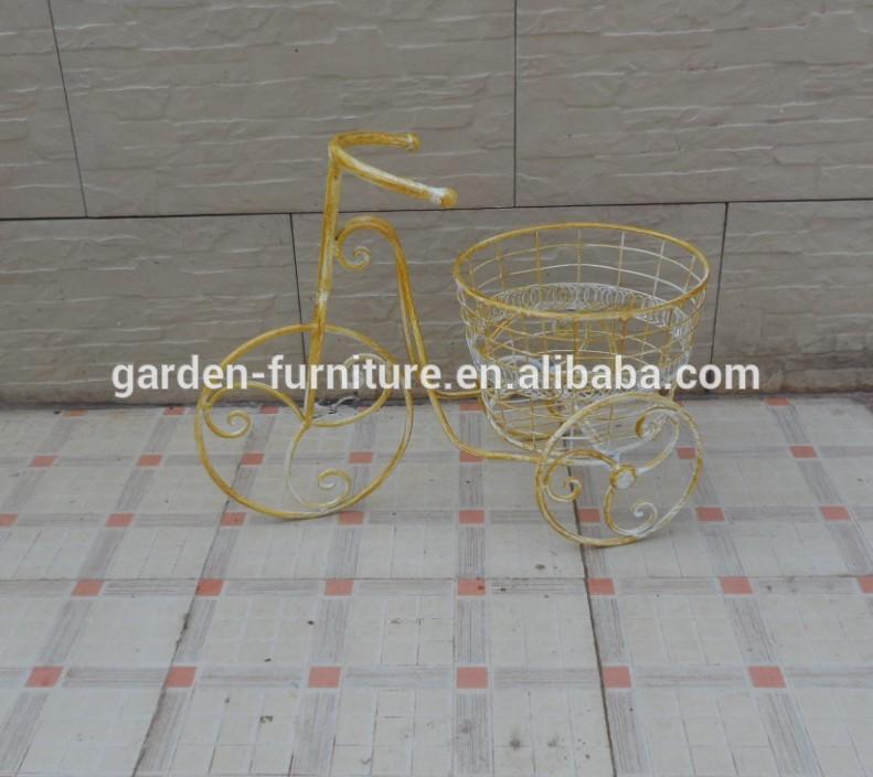 Vintage antieke veranda patio tuin decor metalen fiets bloempot shabby chic geel driewieler - Leuningen smeedijzeren patio ...