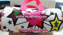 Lady fashion cylindric zipper bag with custom printing