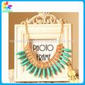 moda atacado 2014 declaração colar turquesa e cristal colar bib metal ouro barato pingente colar de jóias