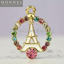 H247-2 MONNEL Hot Sale White Paris Tower with Rainbow Crystal Pendant DIY