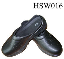SL,black waterproof leather safety protection kitchen footwear, hospital shoes, hotel clogs