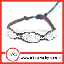 unique natural stone leather howlite/turquoise wrap bracelet wholesale Christmas gift