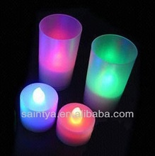 colorful flickering electronic LED tea light candle with plasic cup