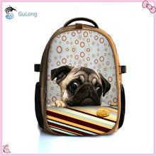 Hot sales dog print khaki canvas backpack