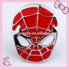 latest design alloy red enamel Spider man mask snap button bracelet