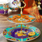 Luxury Fine Porcelain 2 Tier Antique Cake Plate of Summer of Persia