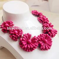 7 fushia flowers necklaces, trendy designer coral beads necklace