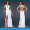 Custom made sexy v- pescoço com contas de cristal decorar um lado aberto branco de organza vestido de noite