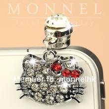ip264- 1 Monnel 2015 Custom Designed Alloy Red Crystal Bow Cut Out Hello Kitty Head Phone Headphone Anti Dust Plug Cover Charm