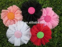 8cm mesh hair flowers with polka dot button in center,hair accessoreis