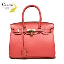 Popular style fashion designer tote genuine leather lady bag