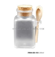 Square bath salt bottle packaging with wooden spoon and cork, 100ml 200ml 300ml 500ml