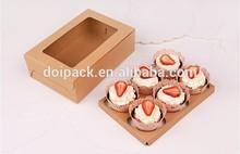 6 holder kraft paper wholesale cupcake box