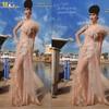 MEV-069 Sheath V-neck Long Lace And Tulle Elegant Full Figure Evening Dresses
