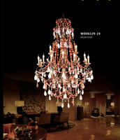 Fancy decorative brass crystal large pendant lamps for hotel project