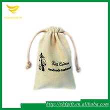 black logo cotton canvas drawstring gift bag for handmade products packing
