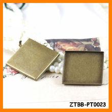 Antique Bronze Square Copper Pendant trays,Blank pendant.fit 20/25mm square glass cabochon,bezel blank ZTBB-PT0023