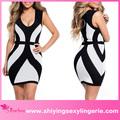 2015 atacado preto branco curvy linhas grossas tiras sexy casal elegante mini vestido
