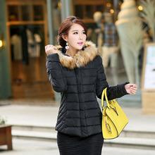 W27004 wholesale slim warm plus size leopard lining black fur collar down jacket