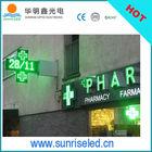 Pure Green LED Light Pharmacy cross sign 100*100cm
