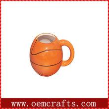 latest product football shape orange ceramic coffee mug