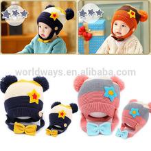 HC-035 Baby Boy Girl Children Crochet Knit Winter Hat with Bowknot Jaw Belt