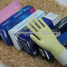 hot sale lightly powder&powder free milk white &beige disposable chemical dental latex gloves
