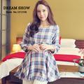 frete grátis 2014 nova moda maternidade blusas outono coreano estilo xadrez feminina manga longa roupas para grávidas 8029
