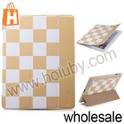 TakeFans Stand Flip Leather Smart Wake Sleep Checker Grid Case for iPad2/3/4