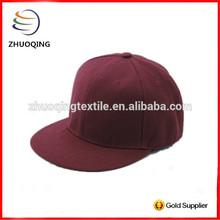 Unisex burgundy color custom promotion snap back cap