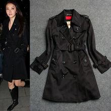High Fashion Double Breaste Cotton Women Black Coats