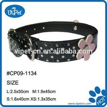 decorative flower Pu leather dog collar