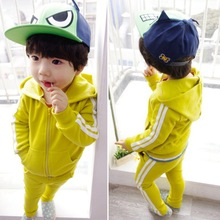 New Baby clothes children wholesale clothing set fashion baby yellow casual sets(M20693A)