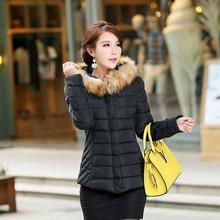 W27015 XL size warm trendy lady fur collar cotton-padded coats black windproof sleeve down jacket