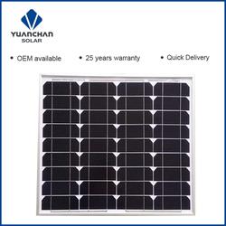 Yuanchan 50w monocrystalline photovoltaic solar panel