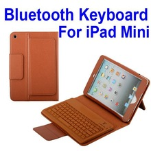 Flip Leather Stand Case Lichee Pattern Chargeable Bluetooth Keyboard Case for iPad Mini
