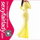 Amazing! Top fashion women yellow long lace evening dress