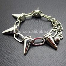 Silver Pave Link Rivet Bracelet