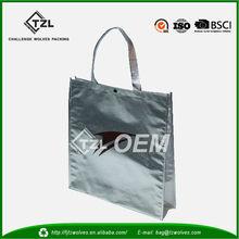 PP nonwoven reusable shoulder shopping metallic bag at low price, non woven bag