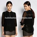 China fornecedor clássicas blusas de mangas 3/4 kurta preto design uma blusa