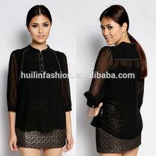 china supplier blouses classical 3/4 sleeves black kurta design a blouse