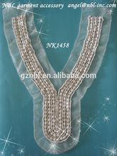 beaded applique collar neck trim neckline trims for garments NK1458