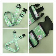 Custom printed jacquard nylon polyester polypropylene luggage strap belt with metal plastic buckle
