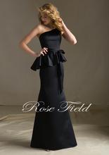 Elegant One Shoulder SF177 Satin with Matching Tie Sash Bridesmaids Dresses