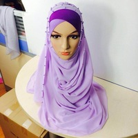 beaded hijab scarf do small wholesale with 12 colors/free sample