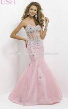 SJ1630 pink sweetheart sleeveless short tail taffeta crystal bead mermaid prom dress