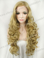 Popular fashion long wavy new style best quality blonde afro wig